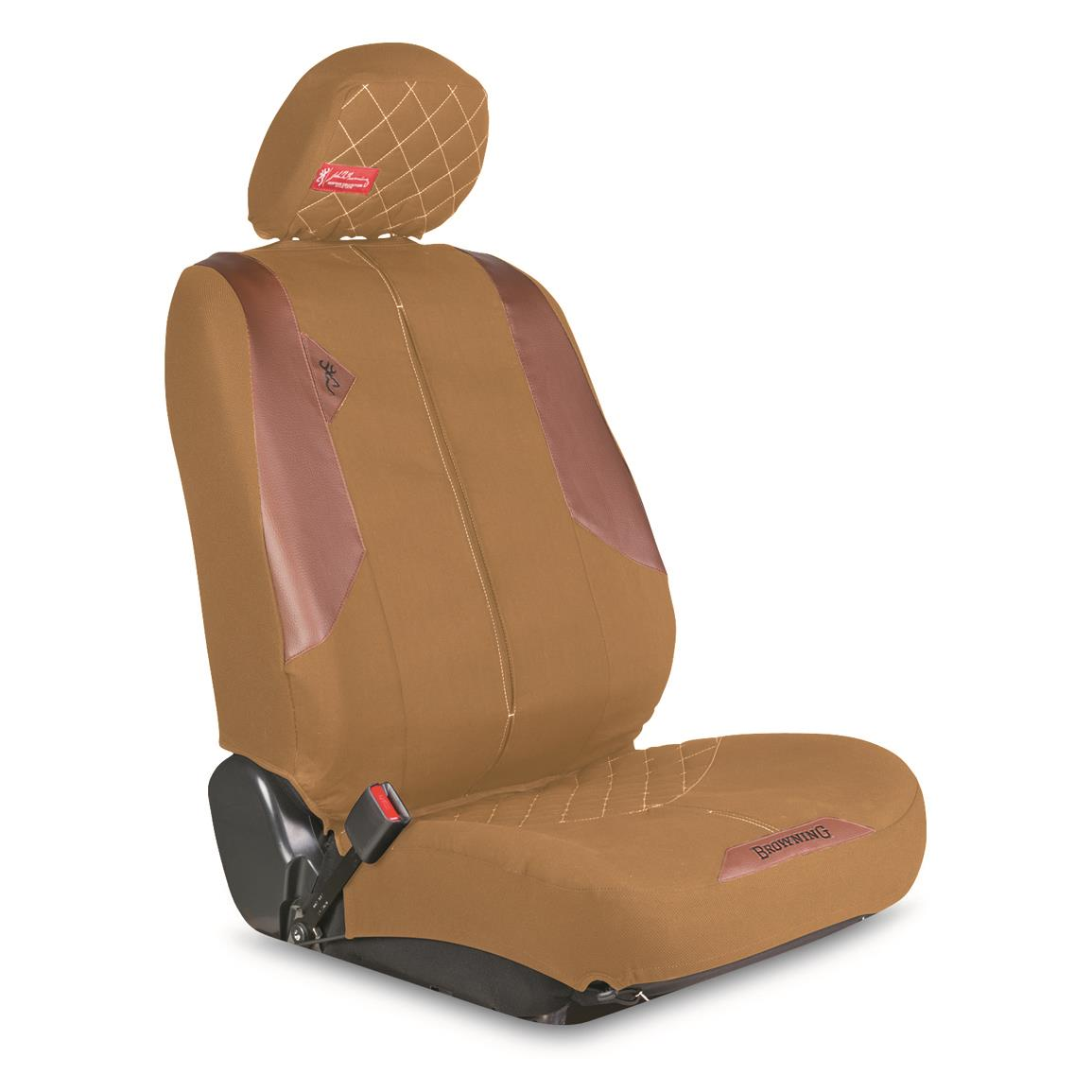 Headrest cover features a hook and loop attachment for a clean fit
