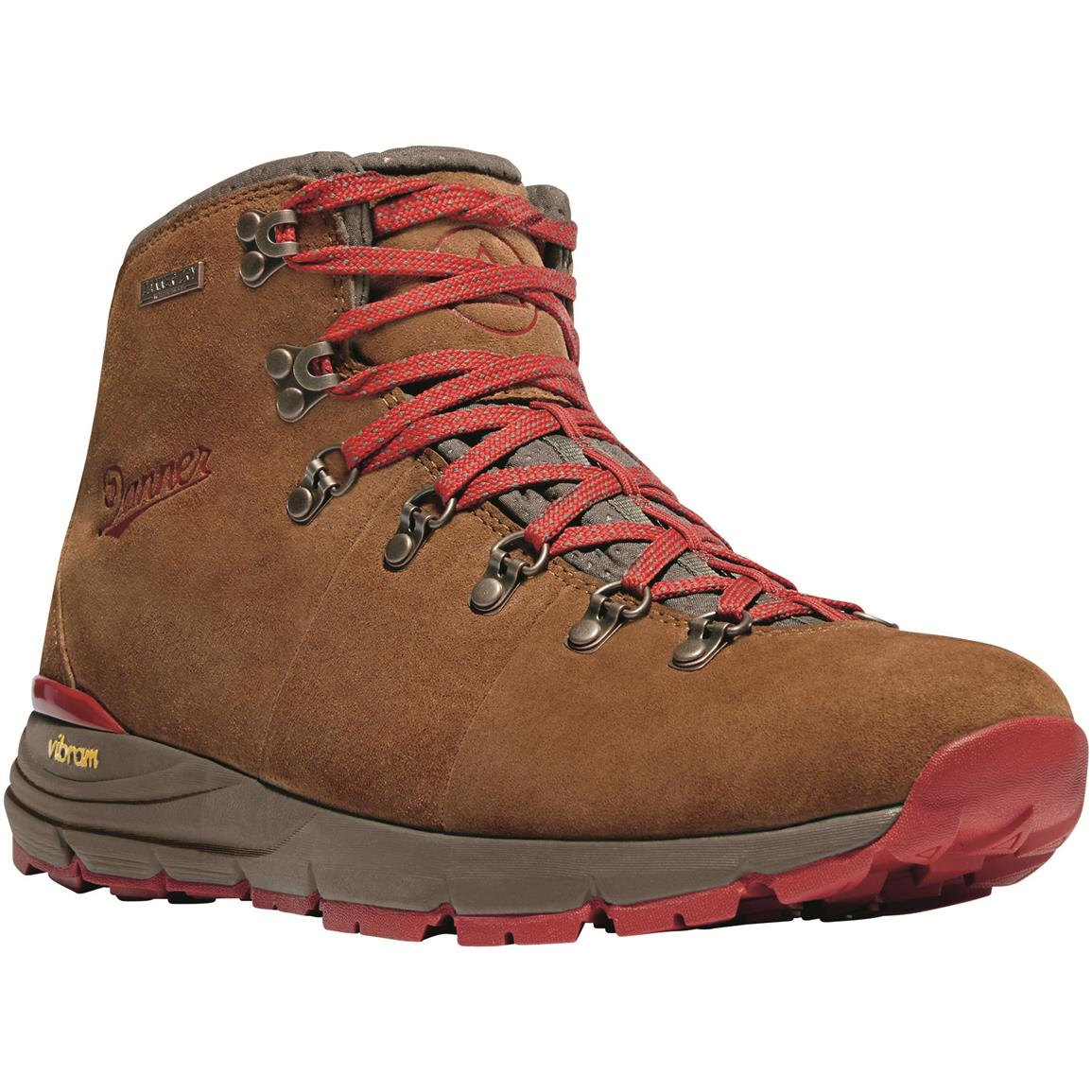"Danner Mountain 600 4.5"" Men's Suede Waterproof Hiking Boots, Brown/Red"