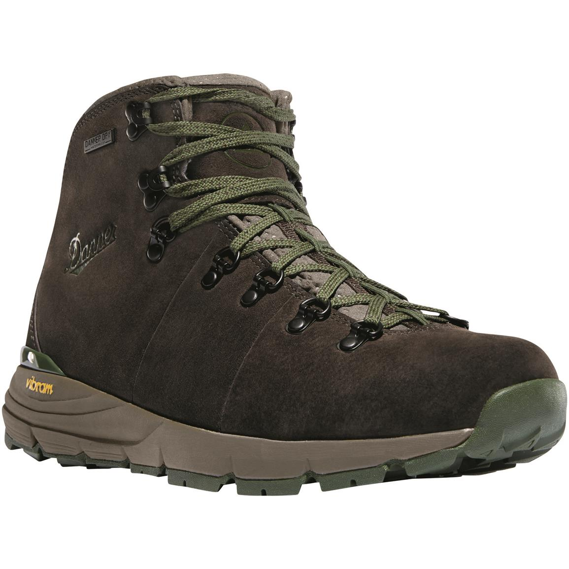 "Danner Mountain 600 4.5"" Men's Suede Waterproof Hiking Boots, Dark Brown/Green"