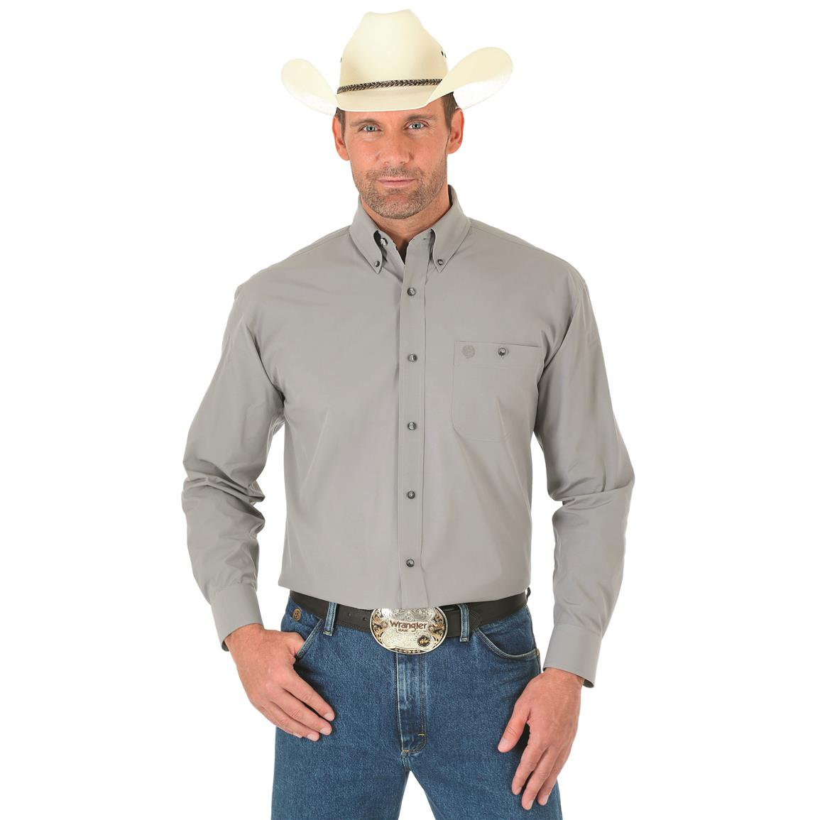 Wrangler George Strait Men's Long Sleeve Button Down Solid Shirt, Gray