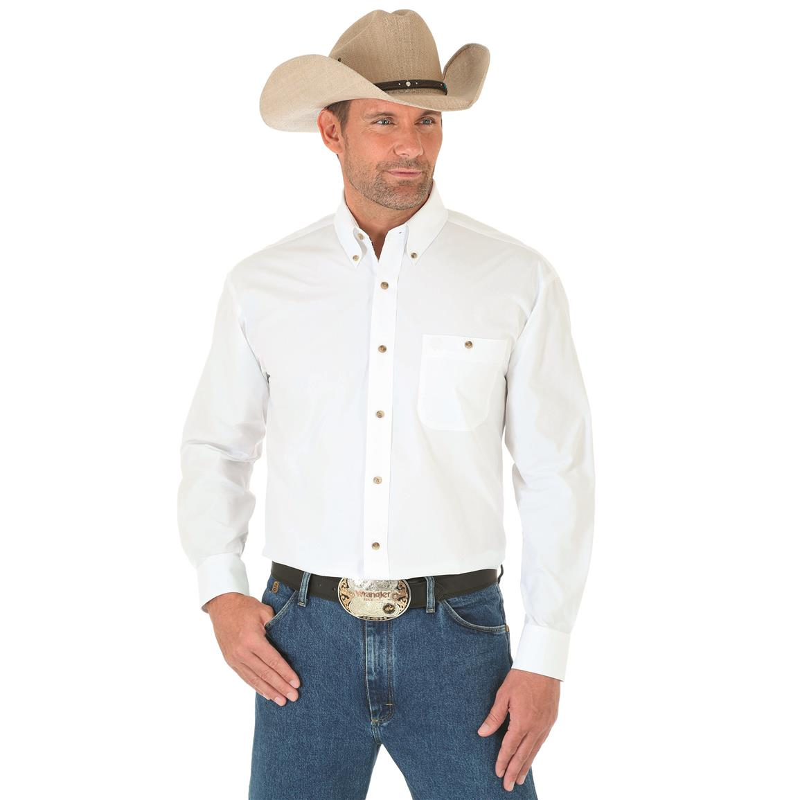 Wrangler George Strait Men's Long Sleeve Button Down Solid Shirt, White