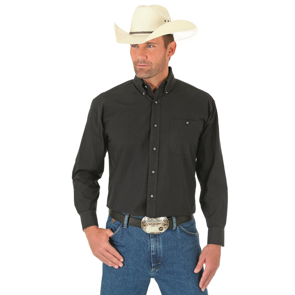 Wrangler George Strait Men's Long Sleeve Button Down Solid Shirt, Black