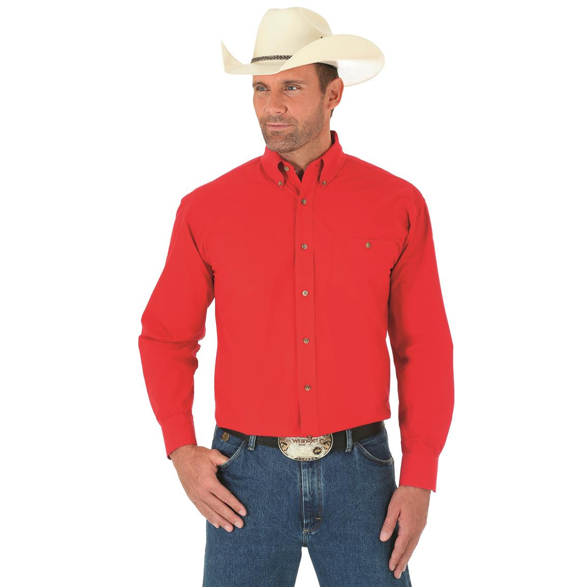 Wrangler George Strait Men's Long Sleeve Button Down Solid Shirt, Red
