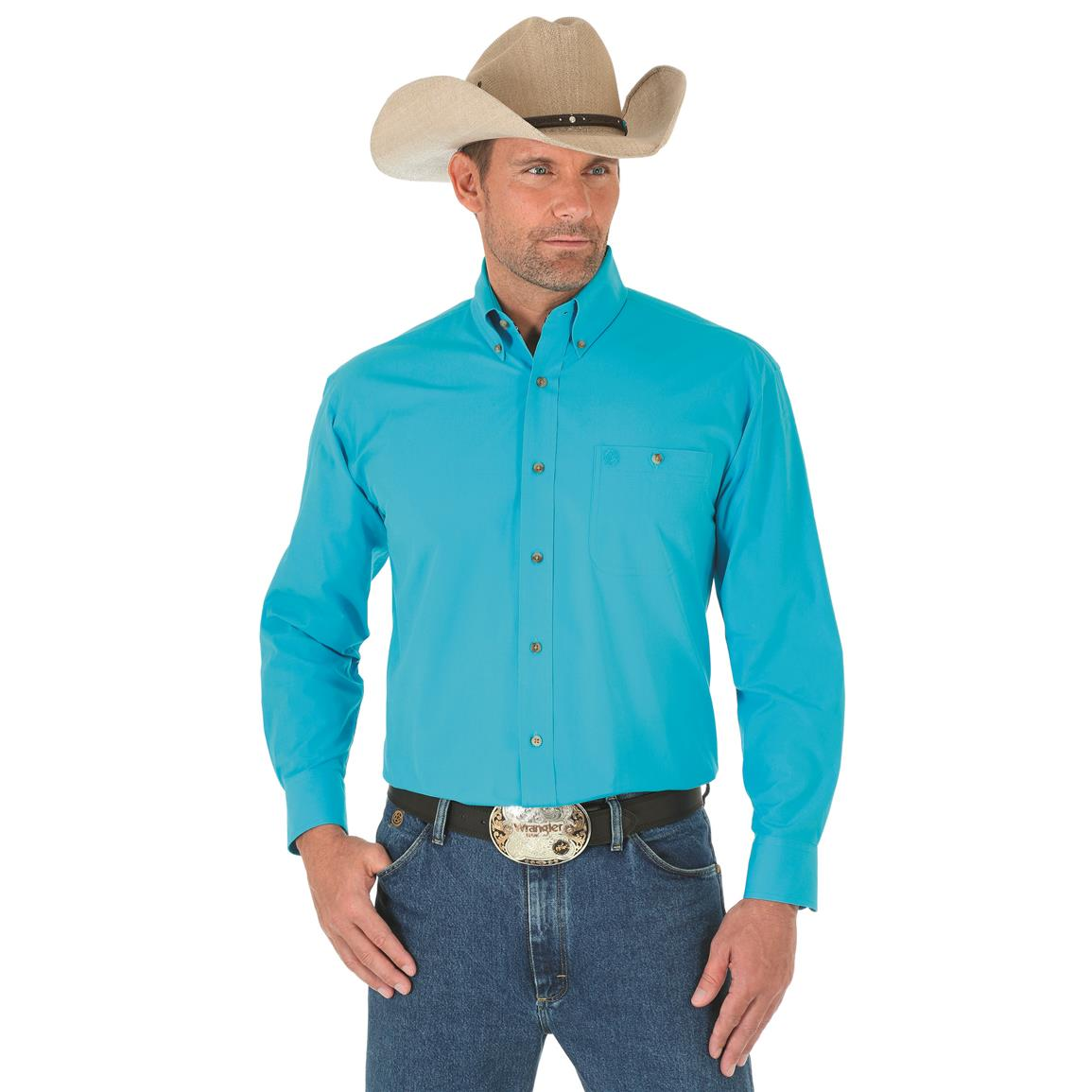 Wrangler George Strait Men's Long Sleeve Button Down Solid Shirt, Turquoise