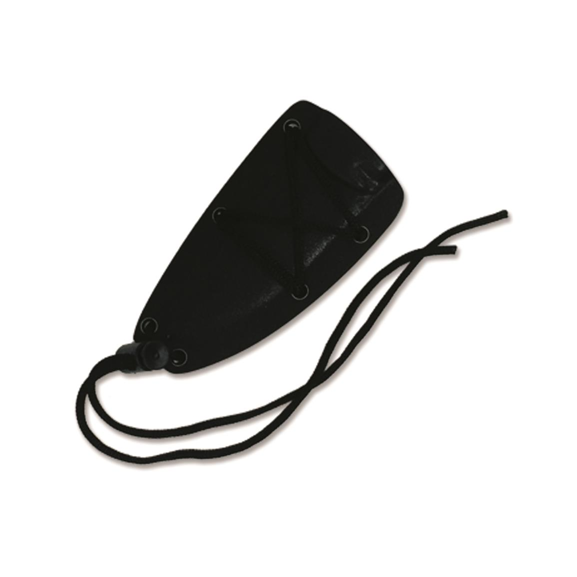 Includes black injection-molded sheath with cord lanyard