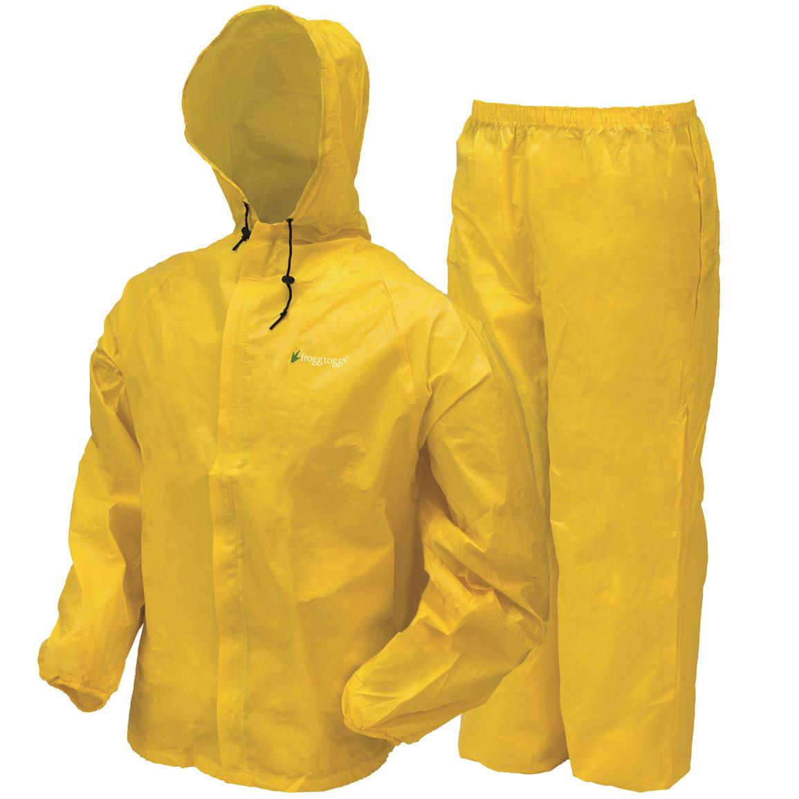 frogg toggs Kids' Waterproof Ultra Lite Rain Suit, 2 Piece, Bright Yellow