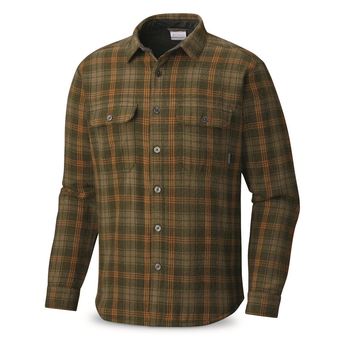 Columbia Men's Windward III Overshirt, Surplus Green Plaid