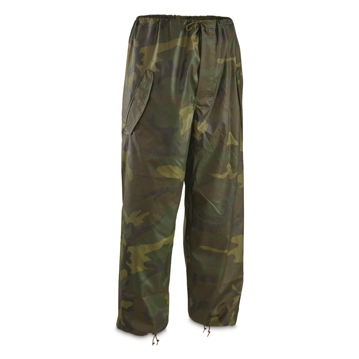 U.S. Military Surplus Woodland Camo Wet Weather Pants, New