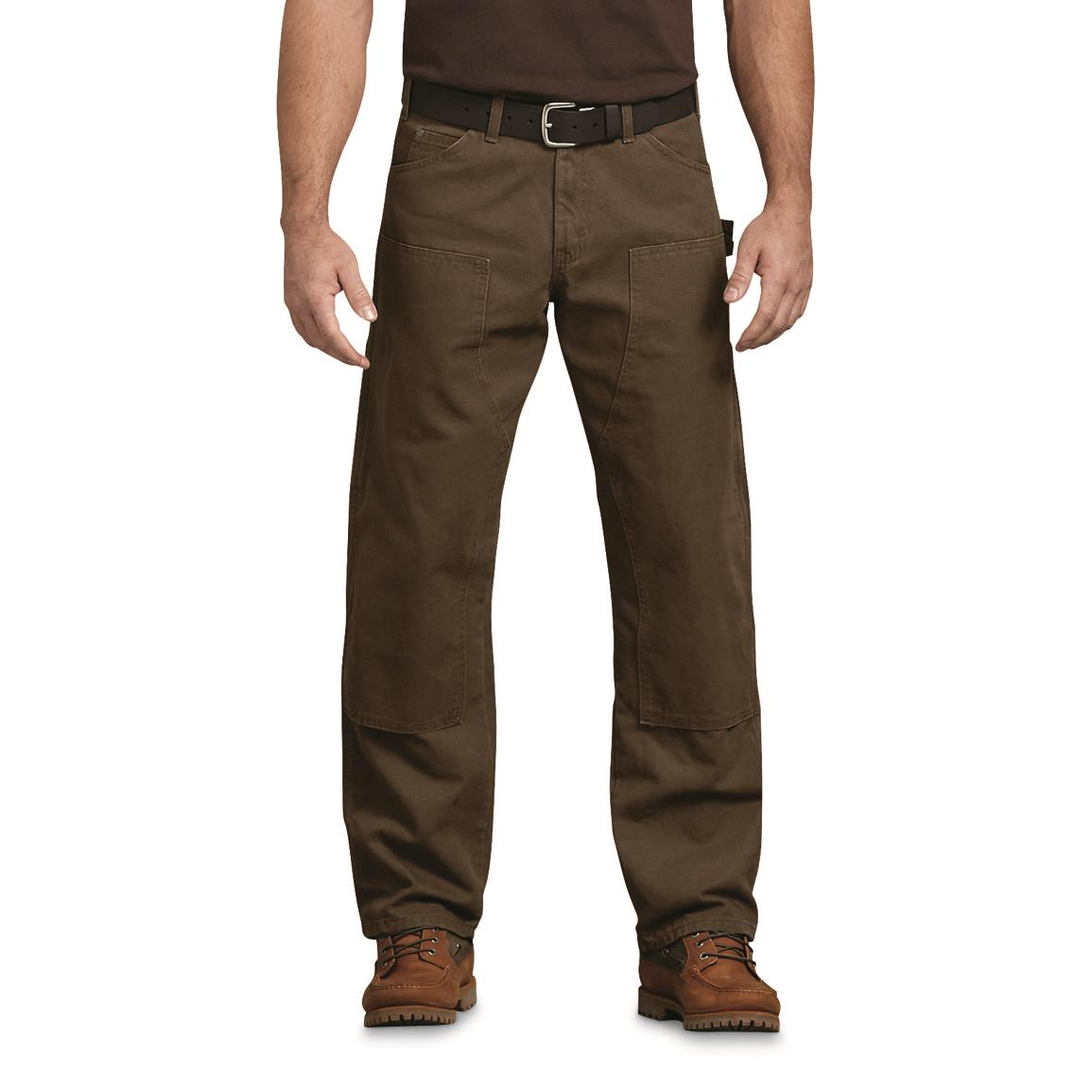 Dickies Men's Double Front Duck Work Pants, Rinsed Timber