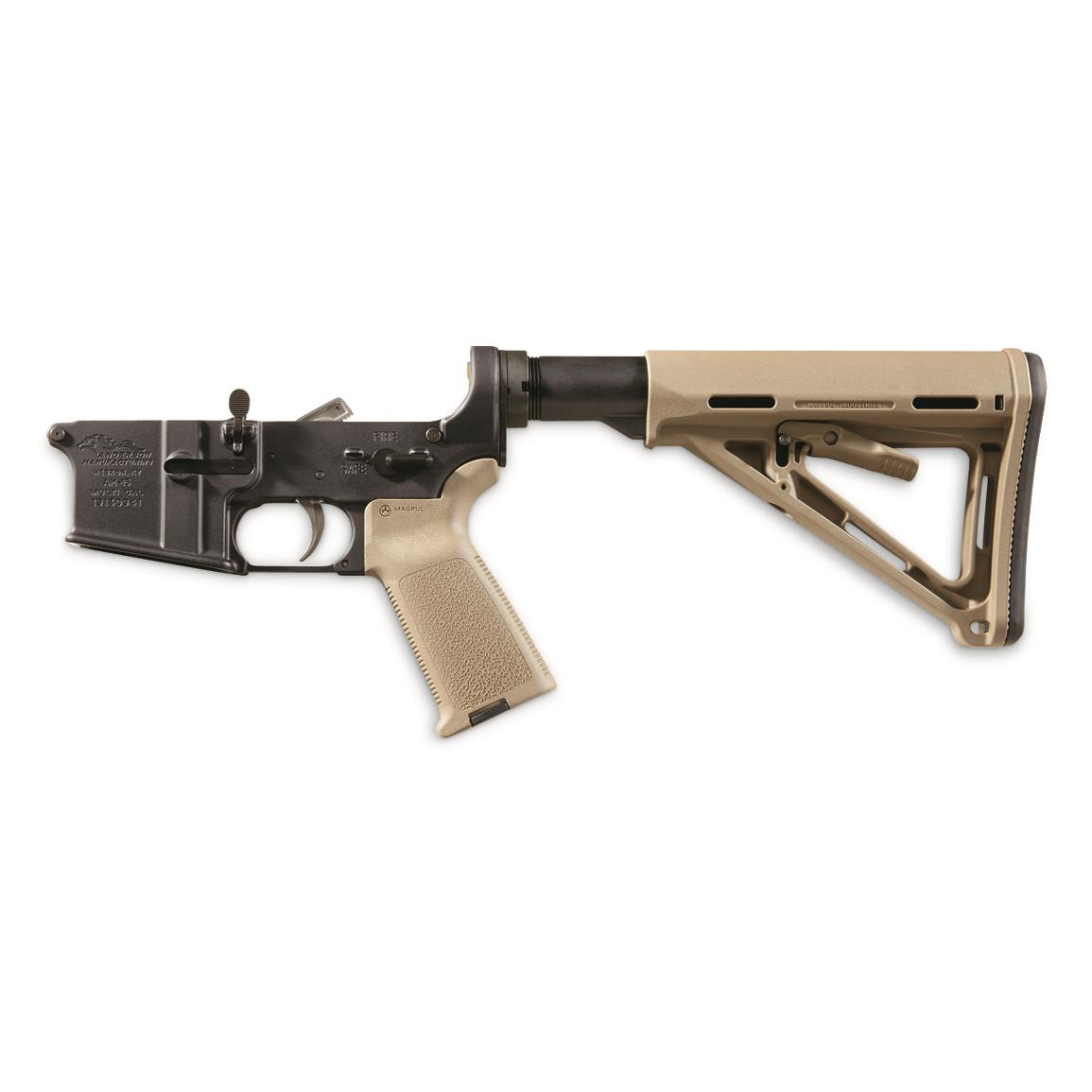 Anderson Complete Assembled Lower, Multi-Cal, Magpul Stock and Grip, Tan