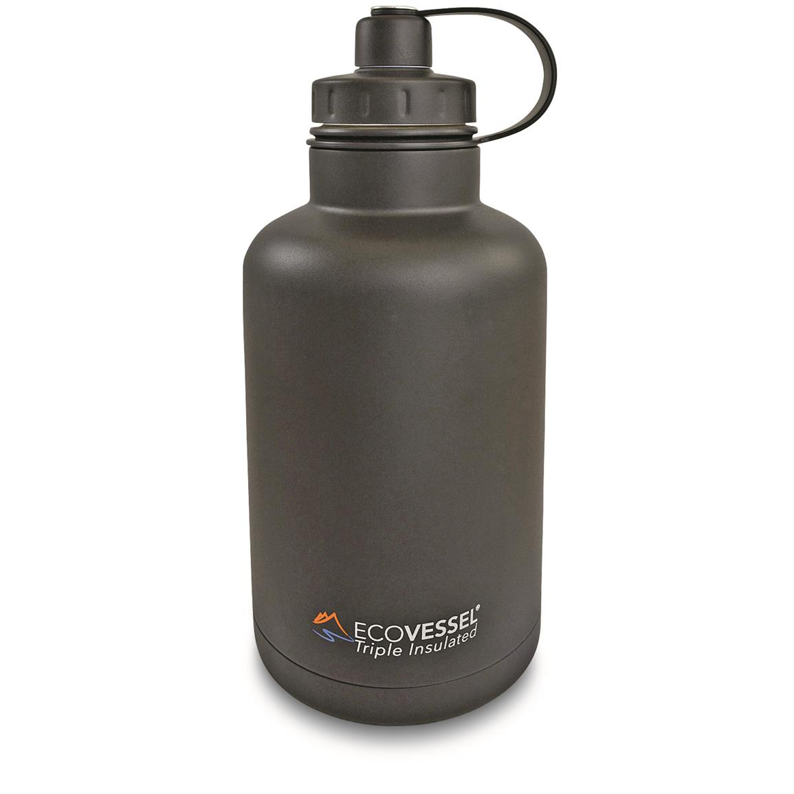 EcoVessel BOSS Growler Bottle with Infuser, 64 oz., Black Shadow