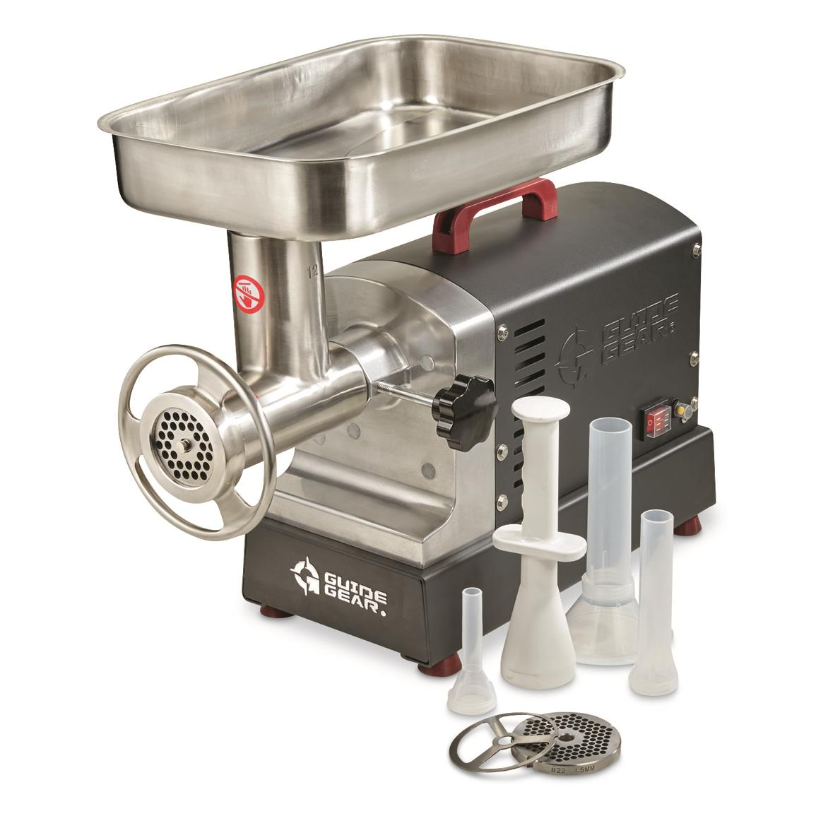 "Includes 3/16"" and 3/8"" grinding plates, food pusher and sausage stuffing tubes"