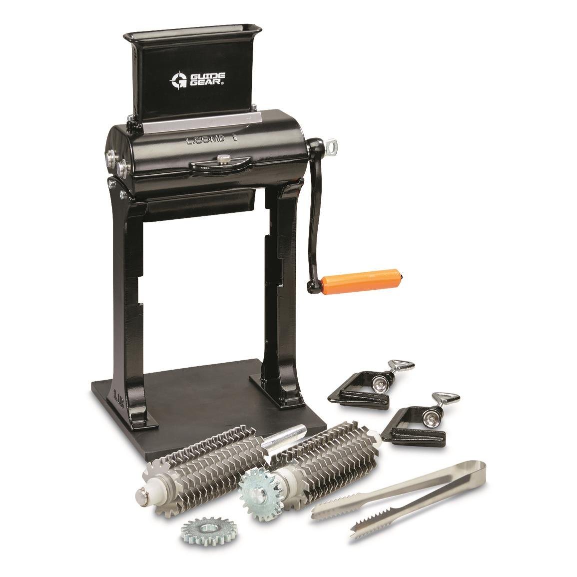 Includes two sets of blades, tongs and 2 C-clamps for attaching to table/countertop