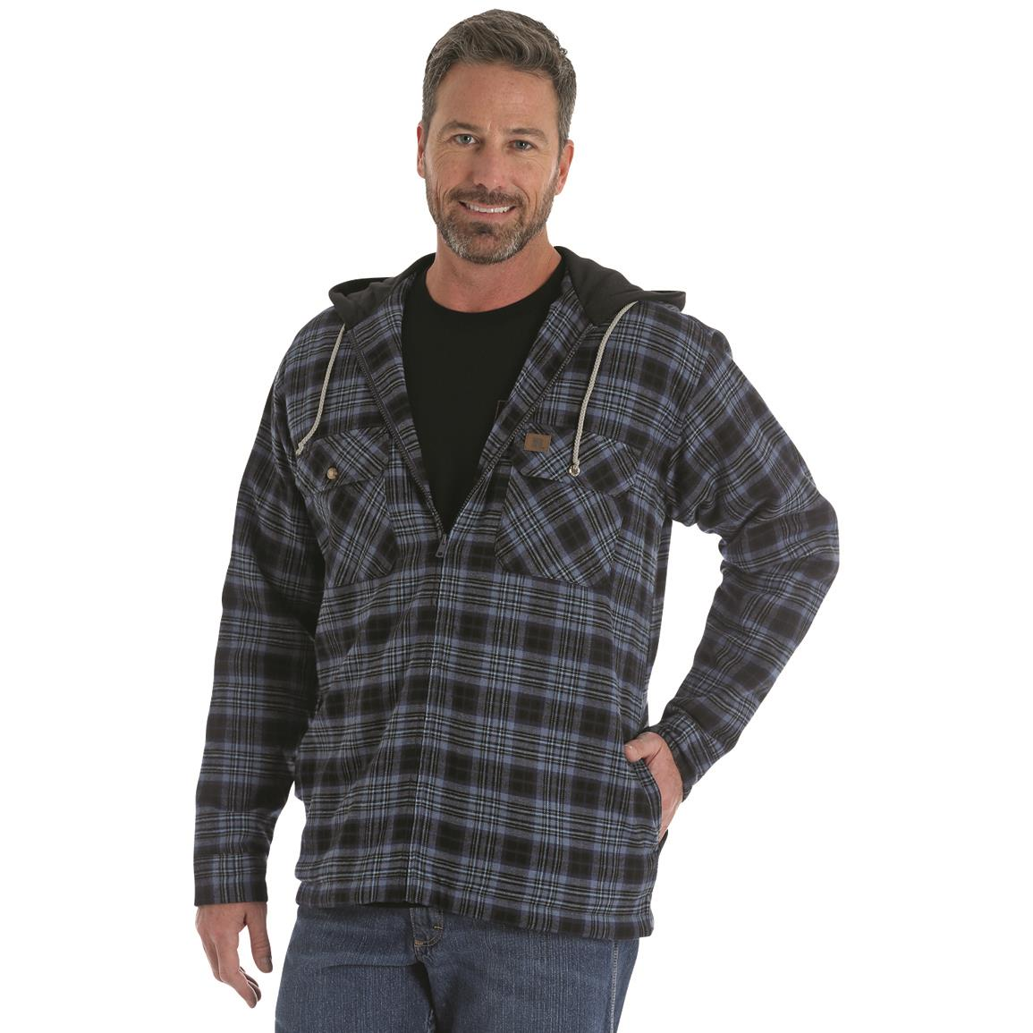 Wrangler RIGGS Workwear Men's Flannel Hooded Jacket, Midnight Navy