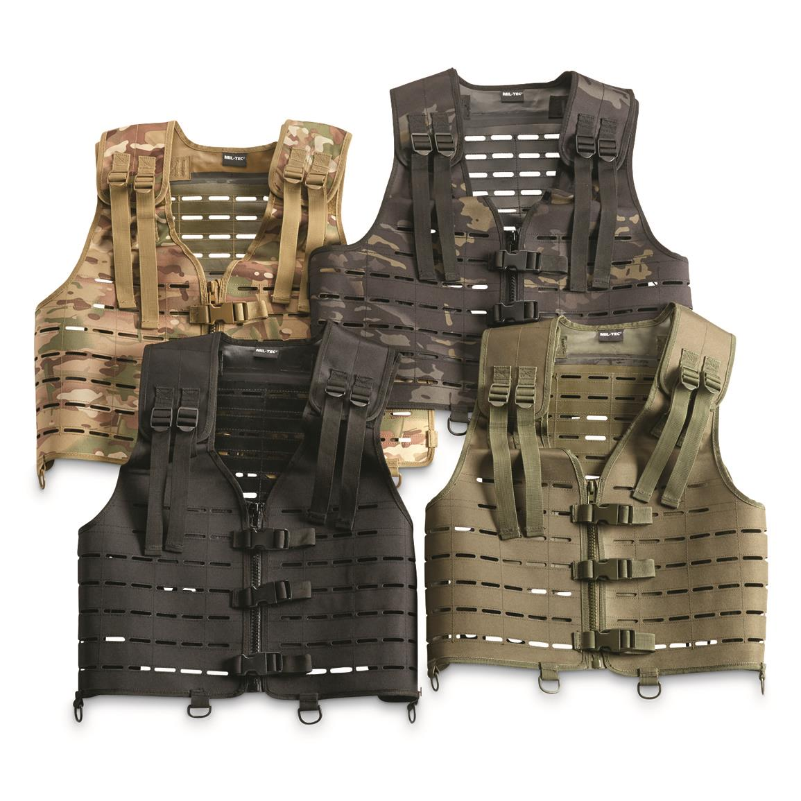 Mil-Tec Military-Style Lightweight Laser-Cut Vest, Black (189