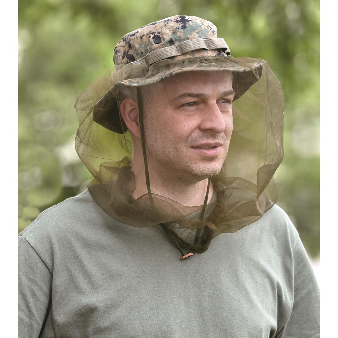 7bbe30b9d8aa8 U.S. Military Surplus Boonie Hat Mosquito Headnet · 100% polyester mesh  netting