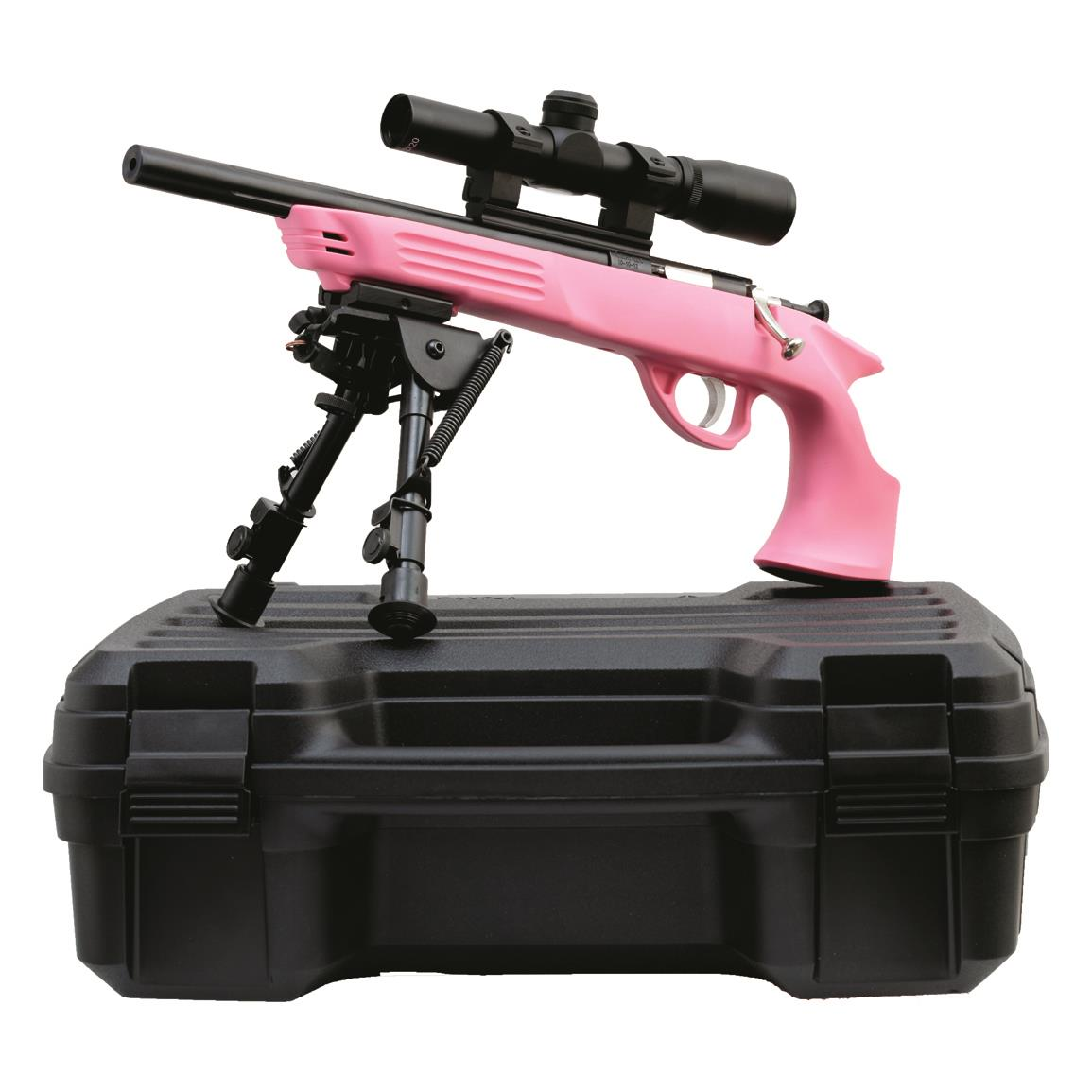 "KSA Crickett Pistol Package, .22LR, 10.5"" Barrel, Pink Stock, Scope, Bipod and Case, 1 Round"