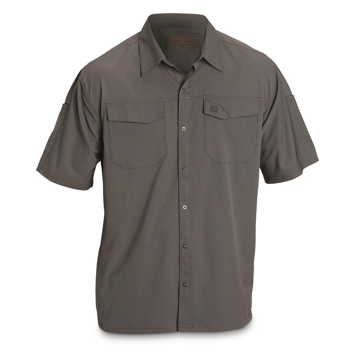 5.11 Tactical Men's Freedom Flex Woven Short-Sleeve Shirt, Storm