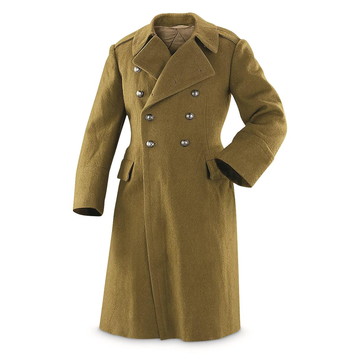 Romanian Military Surplus Wool Trench Coat, Used