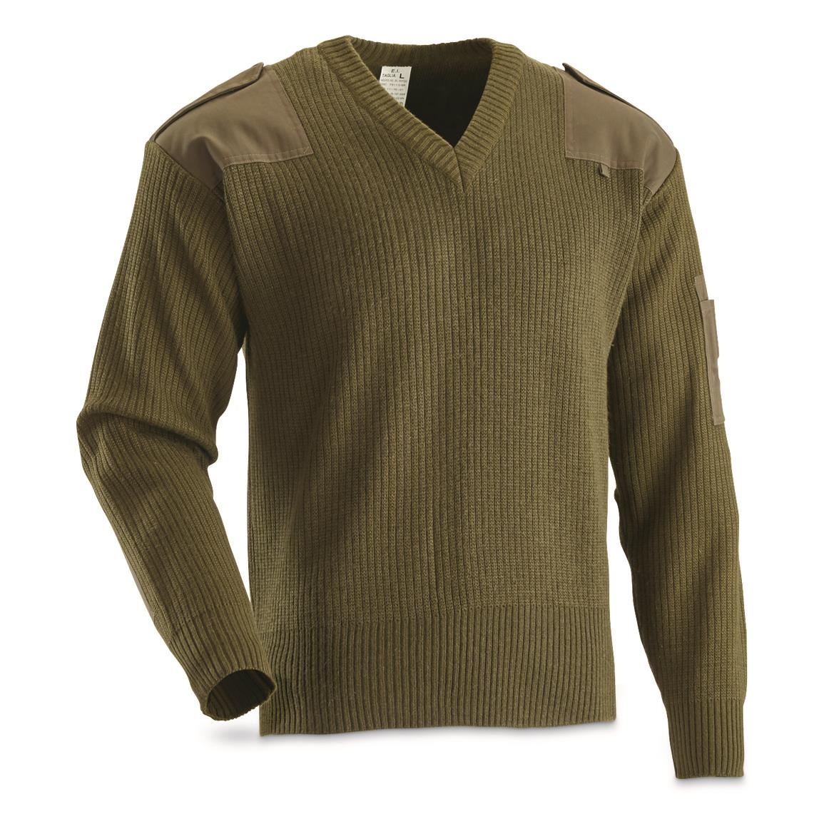 Italian Military Surplus V-neck Wool Blend Commando Sweater, New