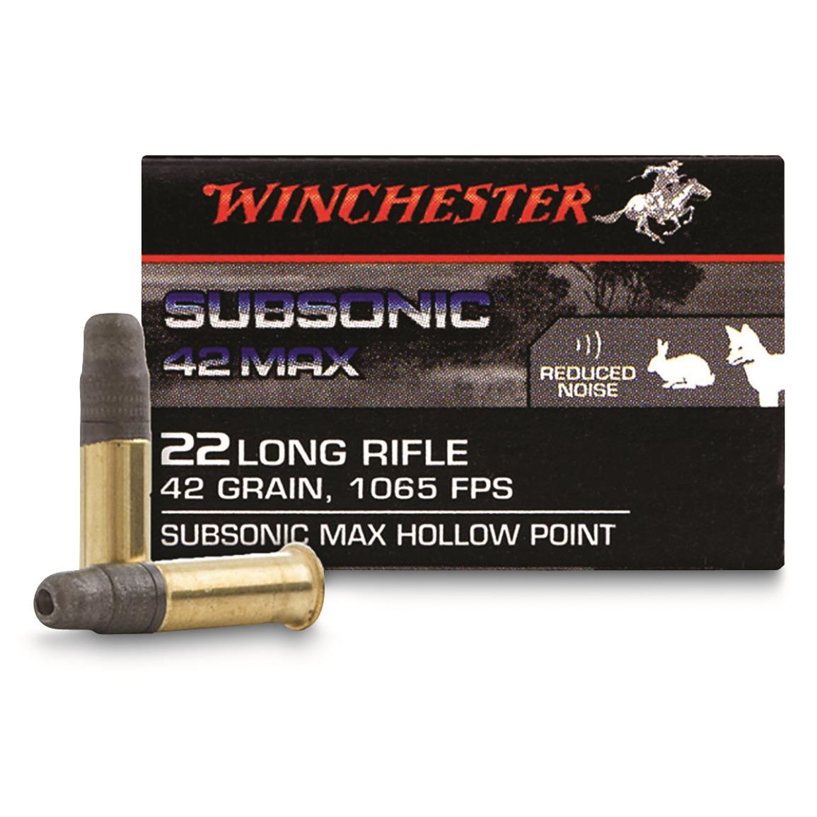 Winchester Subsonic 42 MAX, .22LR, Lead Hollow Point, 42 Grain, 50 Rounds