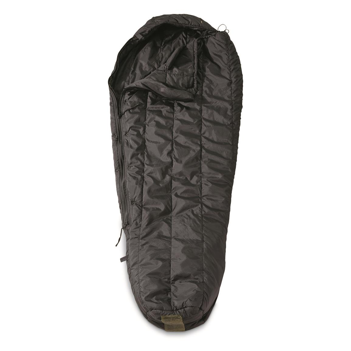 U.S. Military Surplus Black Intermediate Cold Weather Sleeping Bag, Used