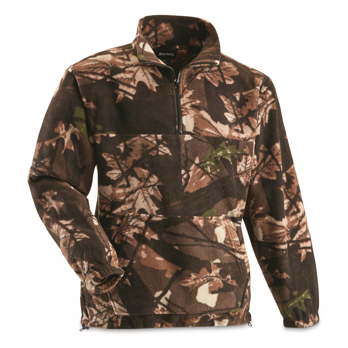HuntRite Men's Quarter-zip Camo Fleece Pullover Jacket, Camo