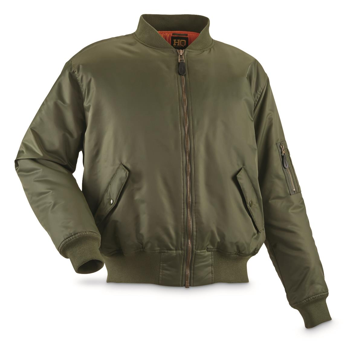 HQ Issue Men's Military Style MA-1 Flight Jacket, Sage Green