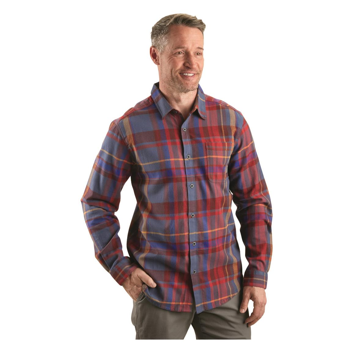 Columbia Men's Boulder Ridge Flannel Shirt, Dark Mountain Plaid