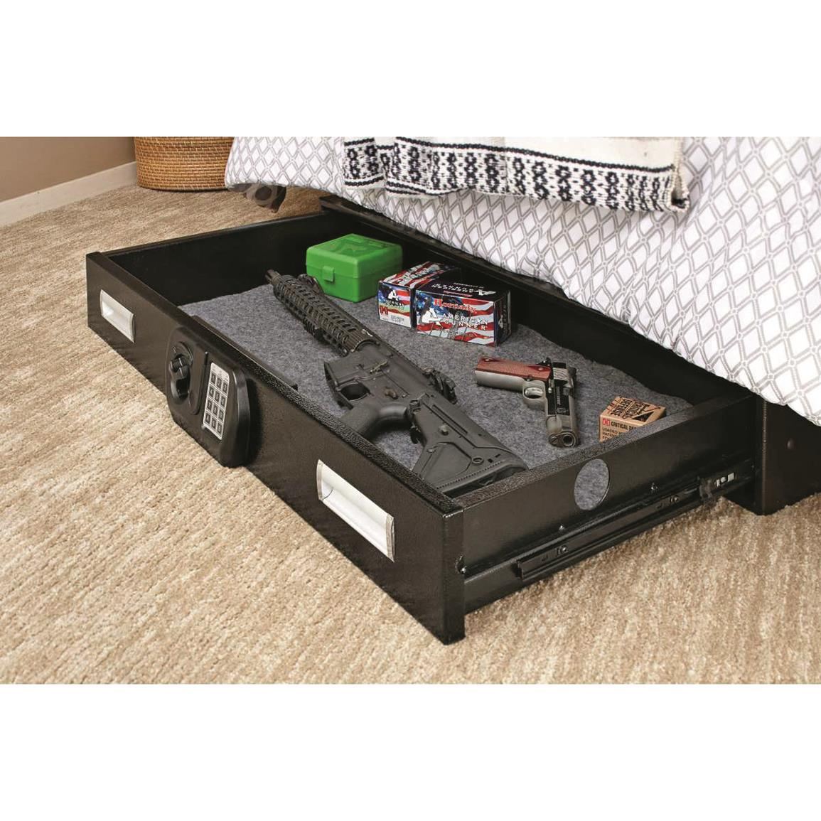 Slide Out Drawer Accommodates A Wide Variety Of Items