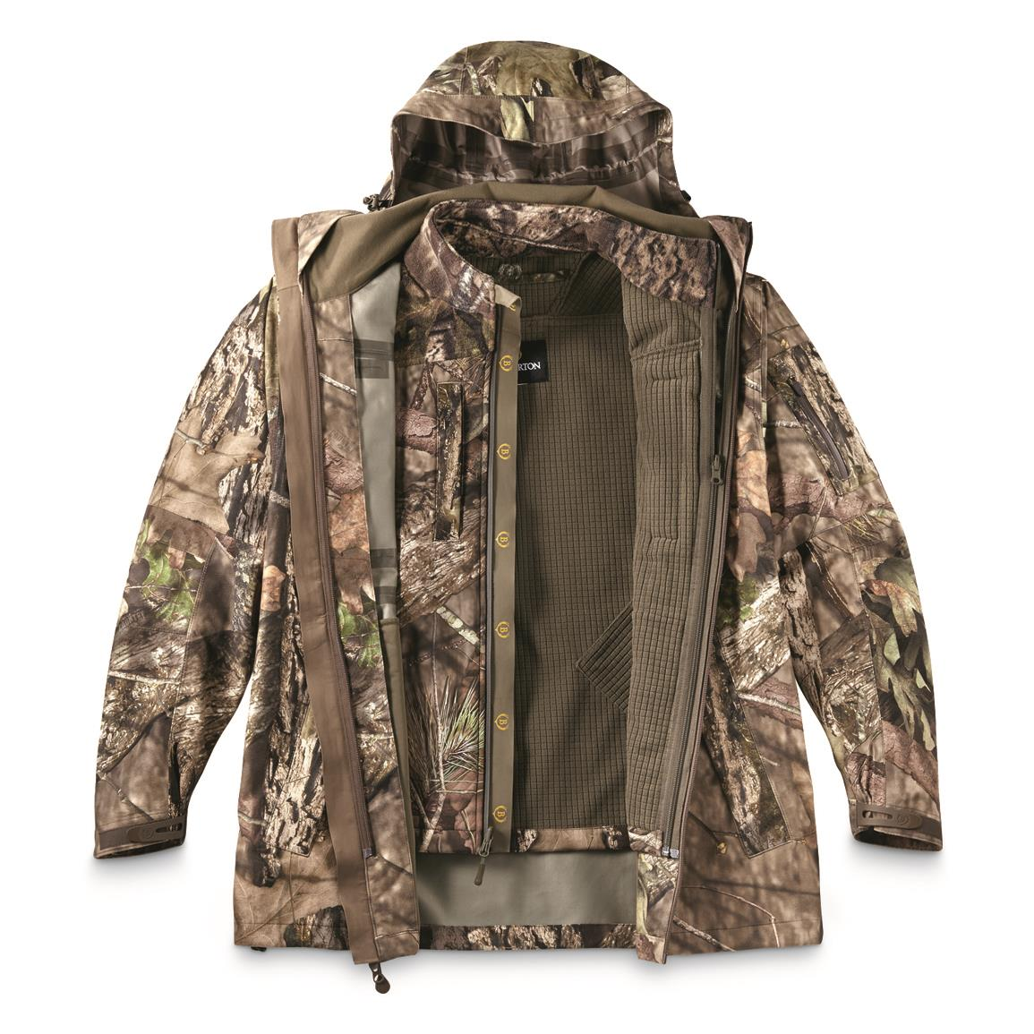 Bolderton Men's Outlands All-Climate Series Waterproof Parka Shell with Softshell Liner Jacket, Mossy Oak Break-Up® COUNTRY™