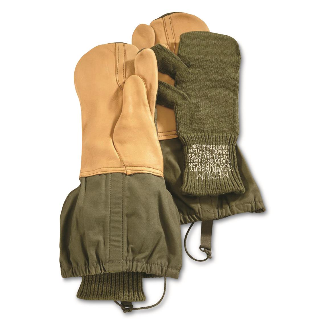 U.S. Military Surplus M1965 Trigger Mittens, with Wool Liners, Like New, Olive Drab