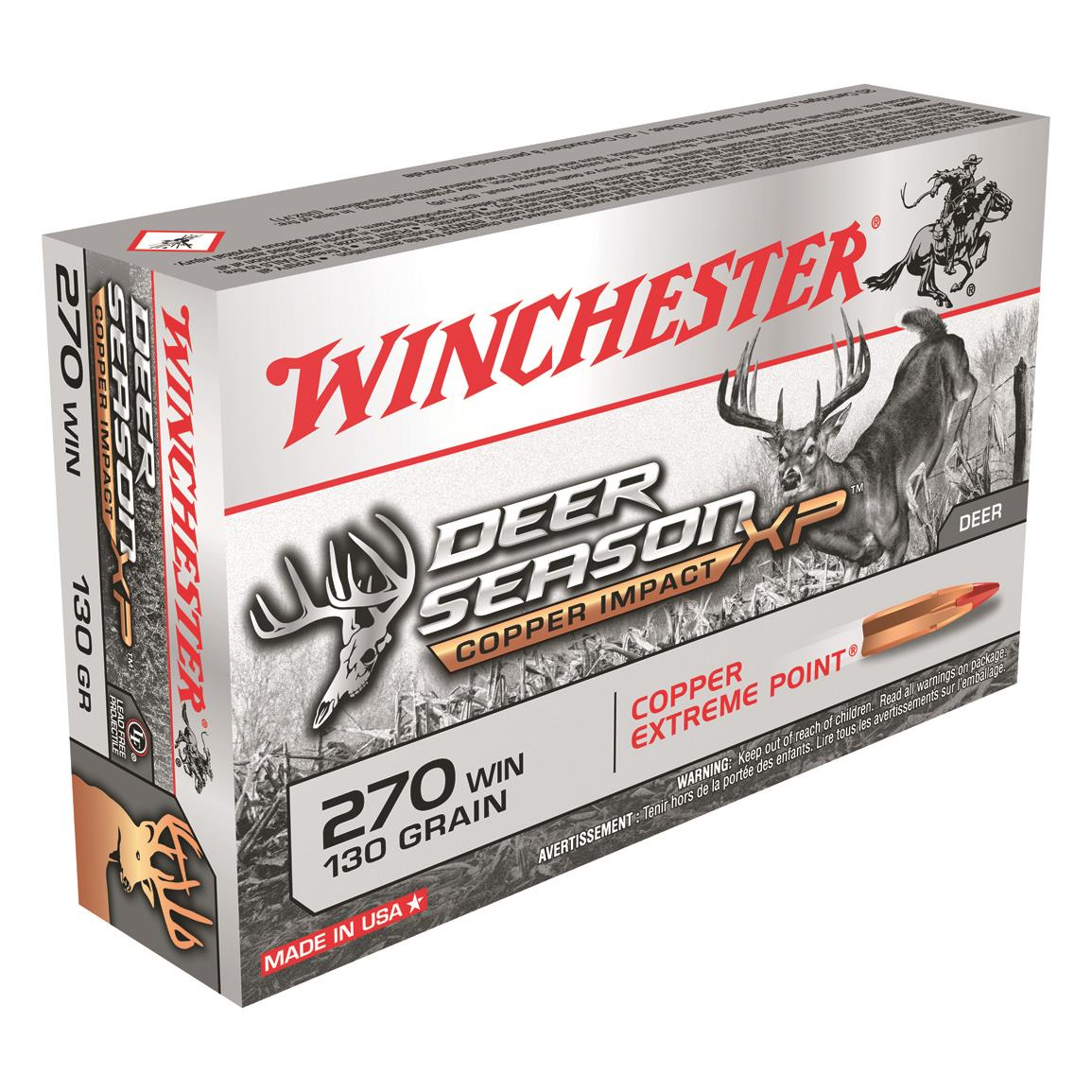 Winchester, Deer Season XP Copper Impact,  270 Win , Extreme Point Lead  Free, 130 Grain, 20 Rounds