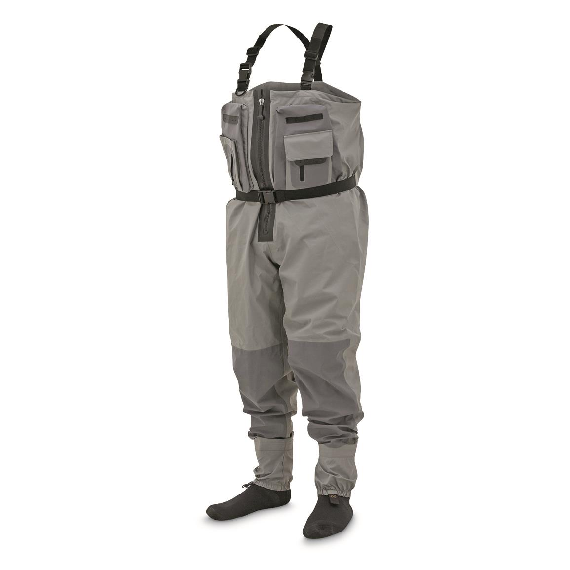 frogg toggs Sierran Transition Z Breathable Zip-Front Stockingfoot Chest Waders, Slate Gray