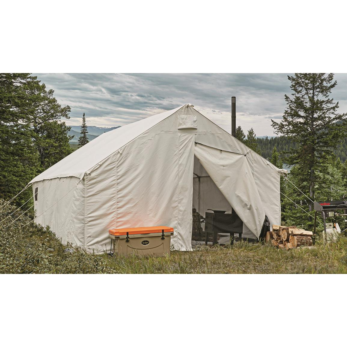 Guide gear canvas wall tent 12 39 x 18 39 706759 outfitter for Canvas wall tent reviews