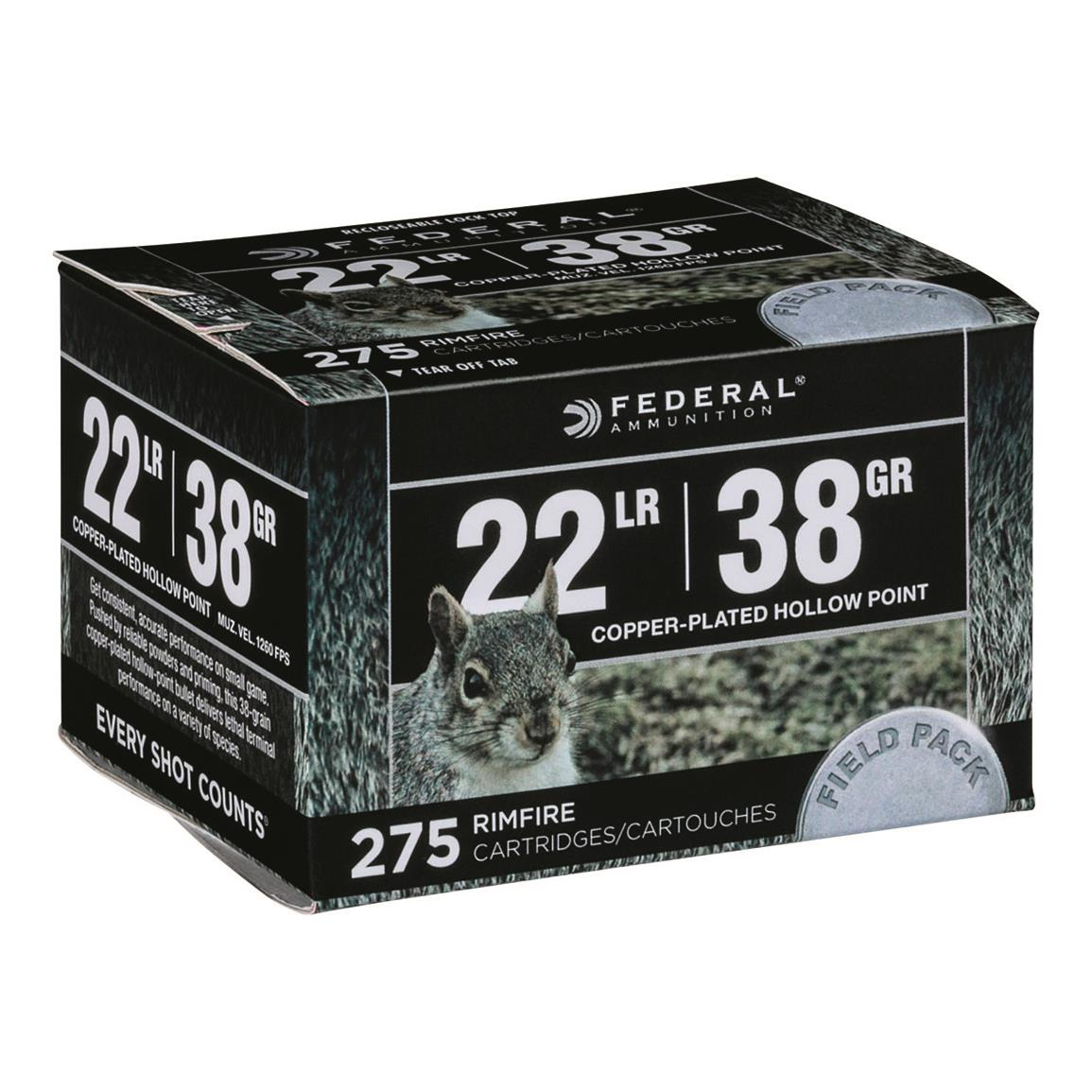 Federal Field Pack, .22LR, CPHP, 38 Grain, 275 Rounds