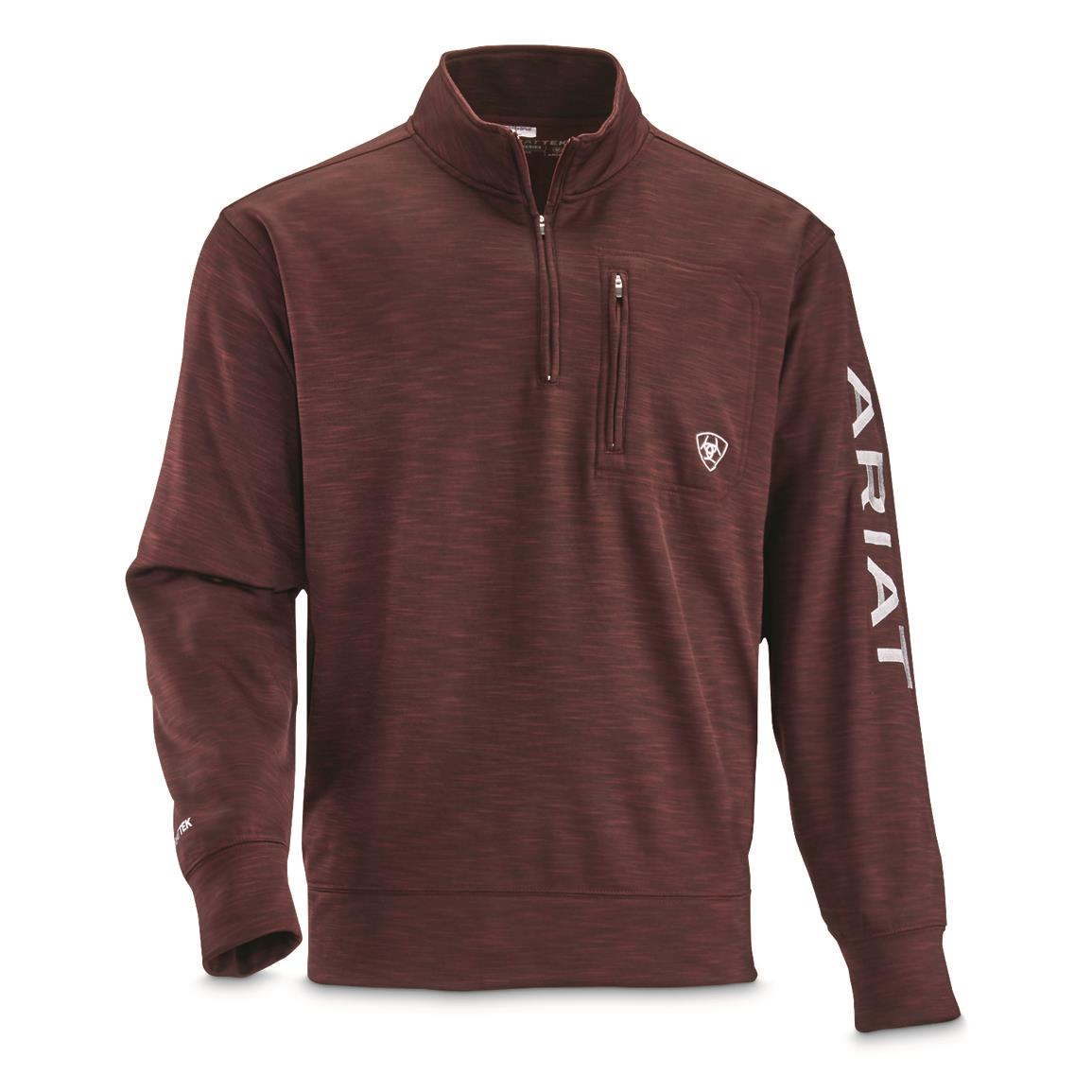 Ariat Men's Team Logo Quarter-zip Pullover, Malbec/Pearl Gray Logo