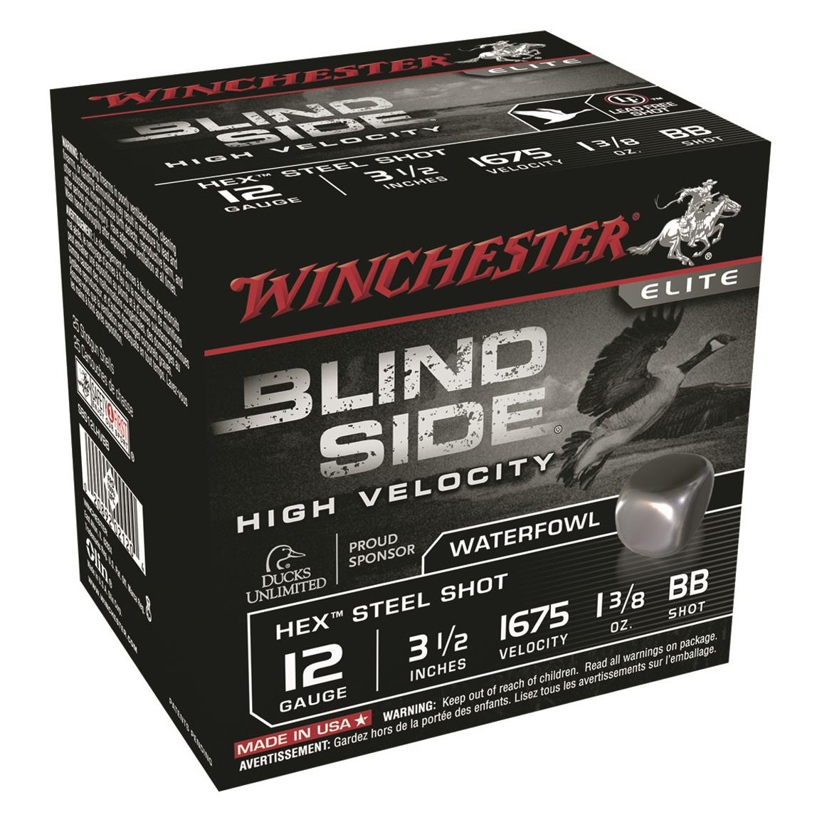 "Winchester Blind Side High Velocity, 12 Gauge, 3 1/2"" Shot Shells, 1 3/8 oz., 250 Rounds"