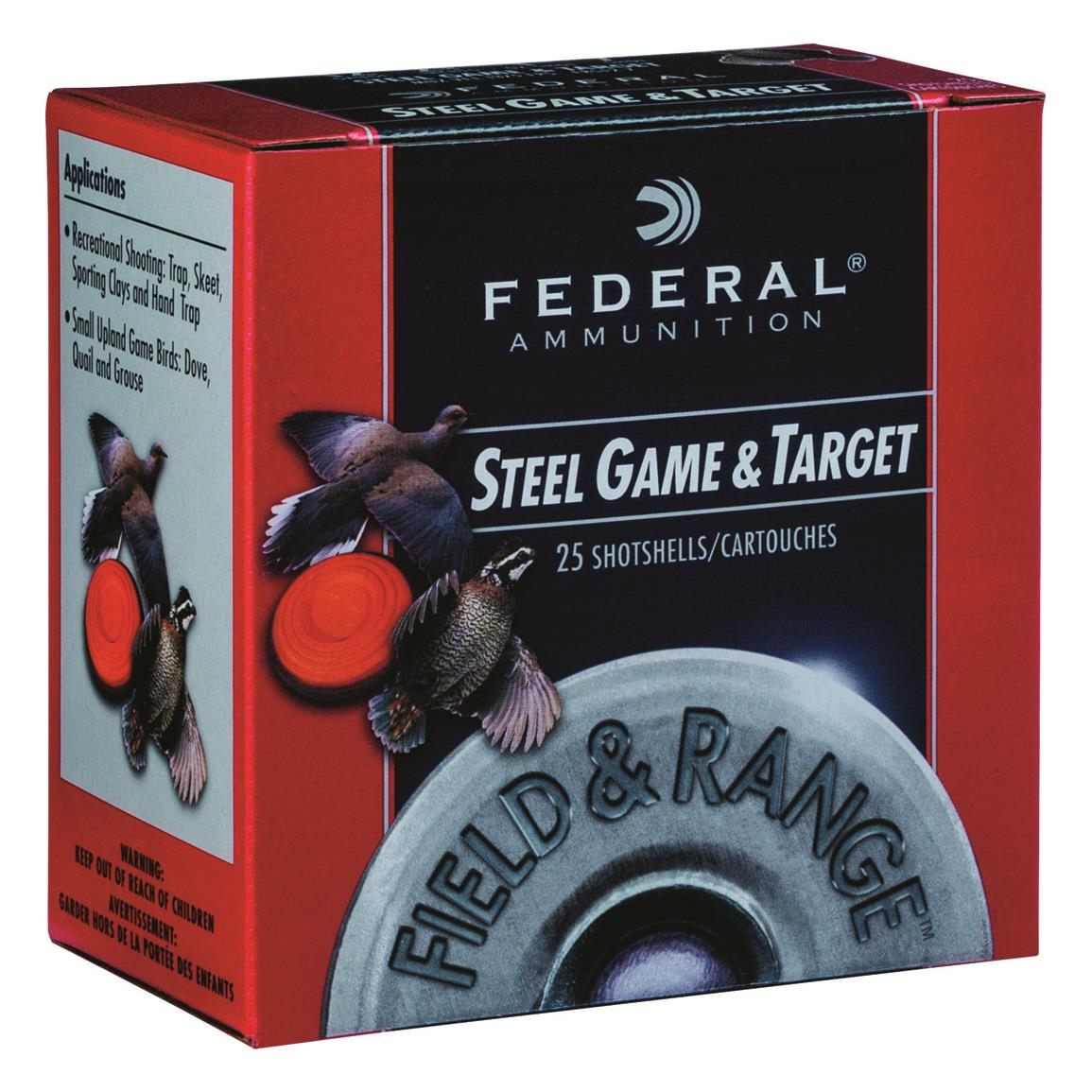 "Federal Premium Field and Range Steel, 12 Gauge, 2 3/4"", 1 oz., Shot Shells, 250 Rounds"