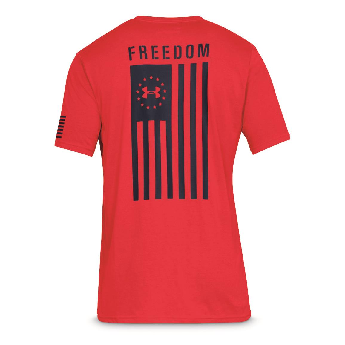 Under Armour Men's Freedom Flag Short Sleeve Shirt, Red/academy