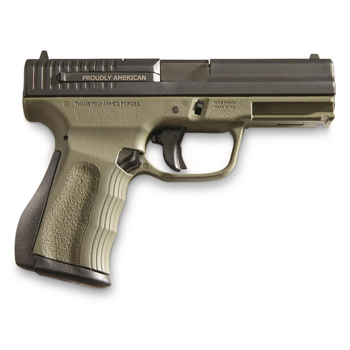 "FMK Firearms 9C1 G2 Compact FAT, Semi-Automatic, 9mm, 4"" Barrel, OD Green, 14+1 Rounds"