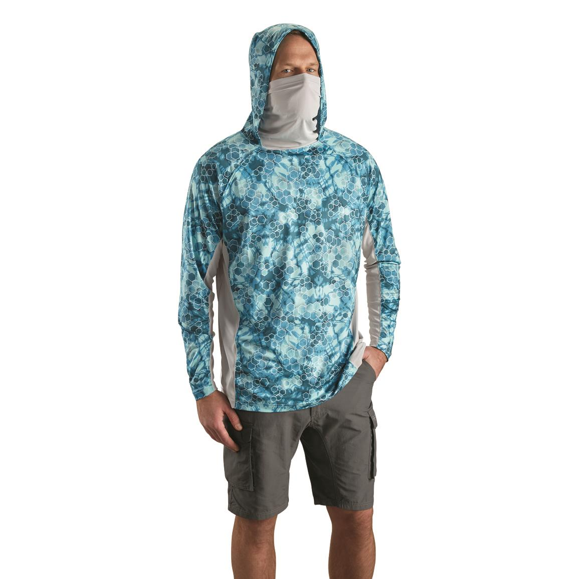 Neck gaitor offers added sun protection for face and neck, Bright Teal Print