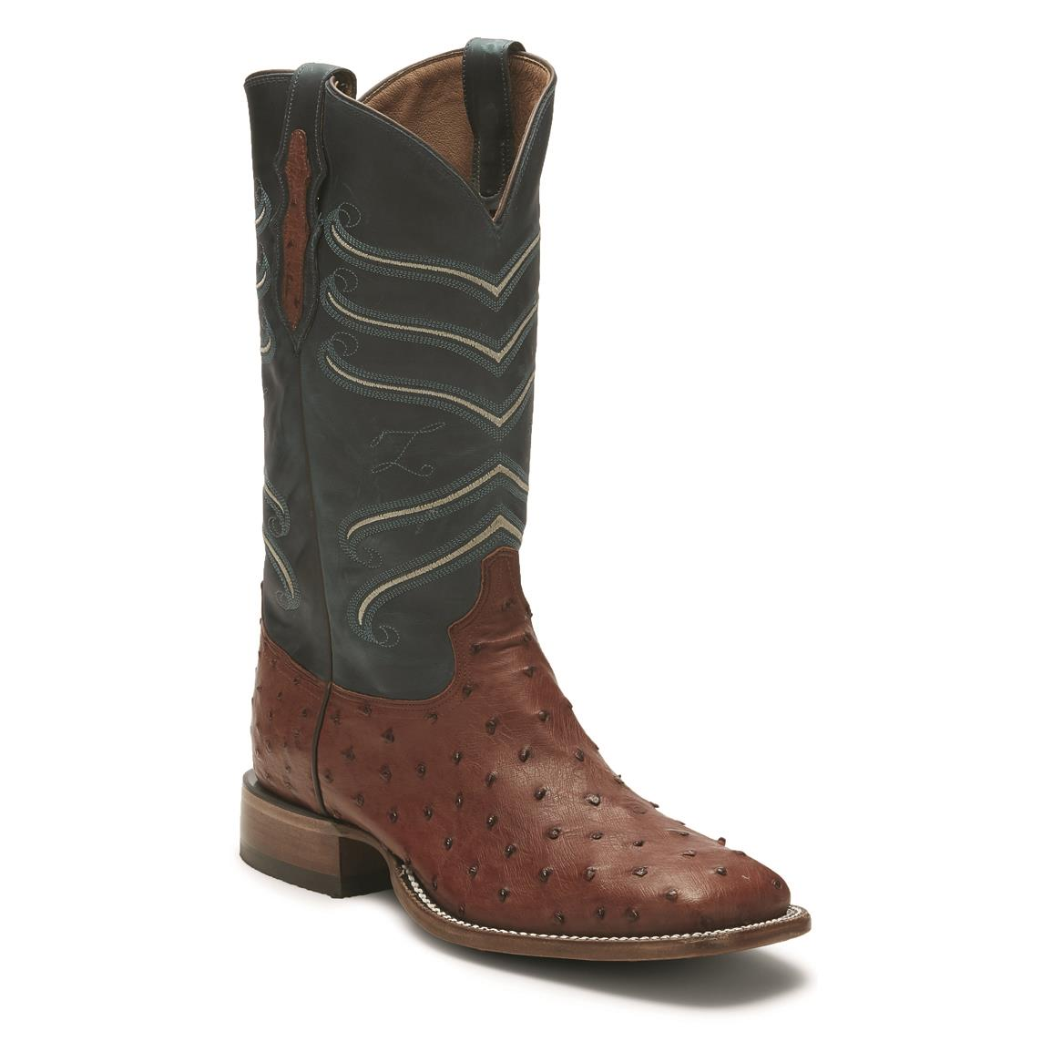 "Tony Lama Men's 13"" Full Quill Ostrich Western Boots, Brandy"