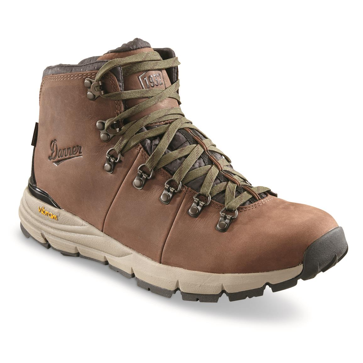 Danner Men's Mountain 600 Waterproof Hiking Boots, Full Grain Leather, Walnut/green