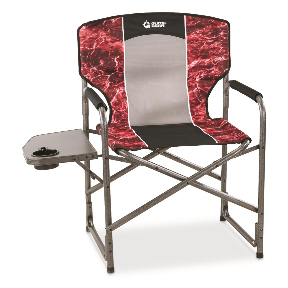 Guide Gear Oversized Director's Camping Chair, 500-lb. Capacity, Mossy Oak Elements Agua, Mossy Oak® Elements™ Agua Crimson