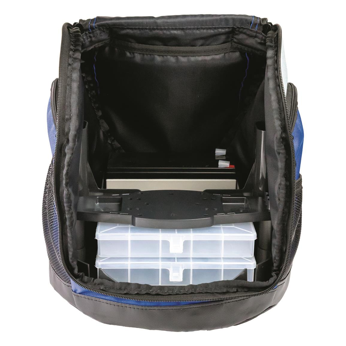 Includes weatherproof gear bag with adjustable display platform, Ice Fishing Transducer, power cable, 2 utility boxes, 12V battery, and battery charger.