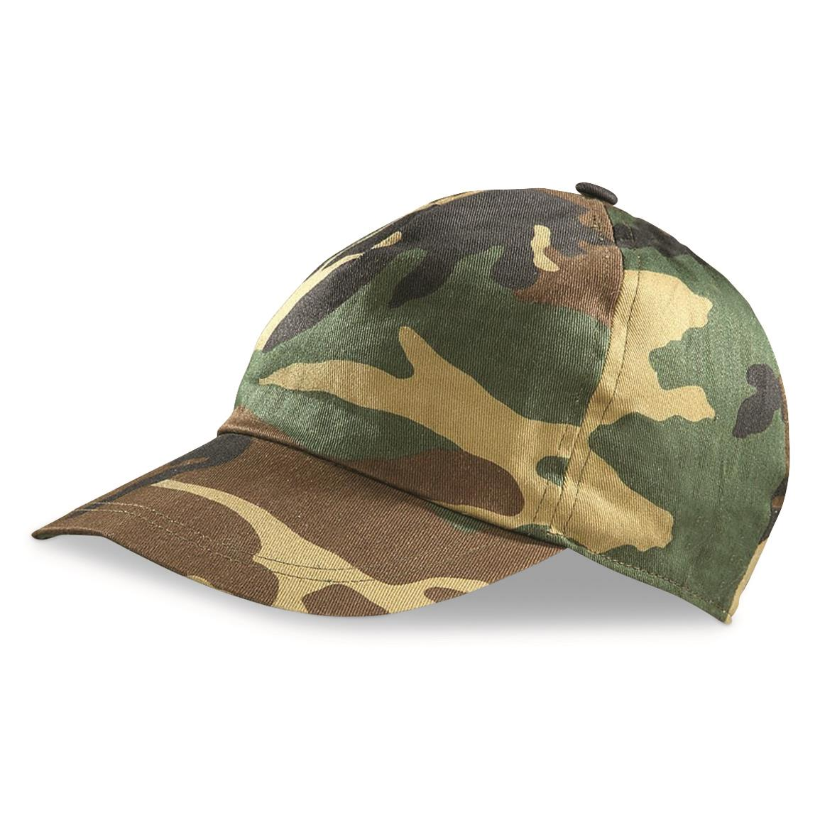 Italian Military Surplus Woodland Caps, 3 Pack, New, Woodland Camo