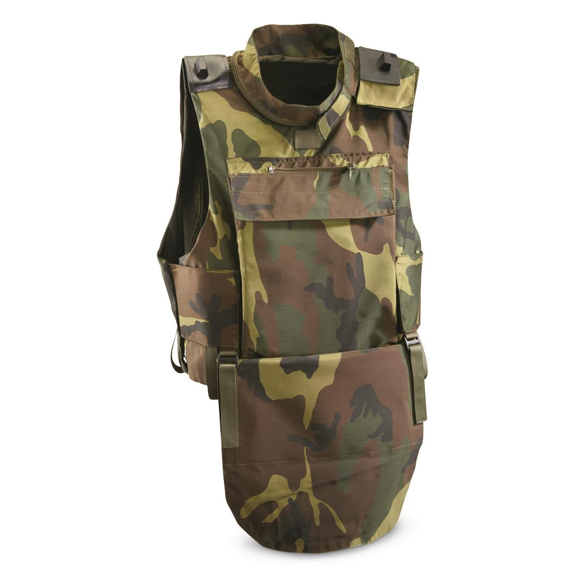 Italian Military Surplus Woodland Tactical Plate Carrier Vest, Used