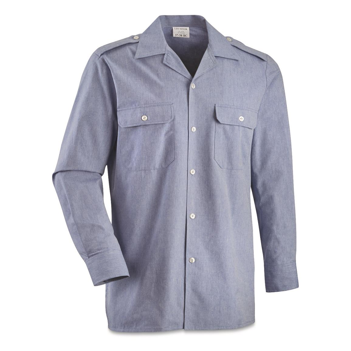 French Military Surplus Long Sleeve Service Shirt, New, Blue
