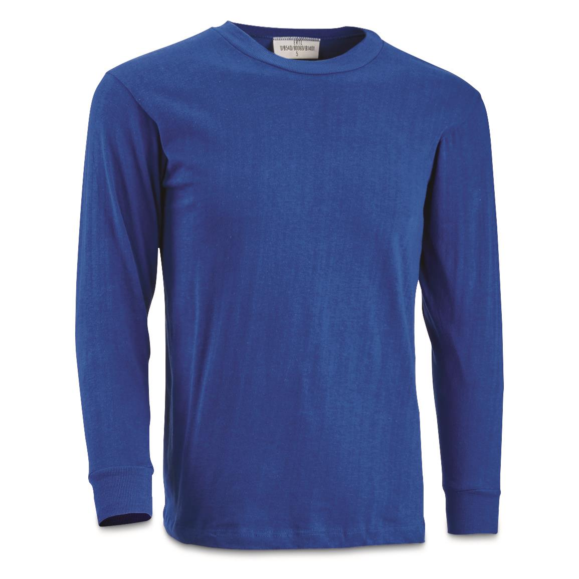 German Military Surplus Marine Long Sleeve Shirts, 2 Pack, New, Blue